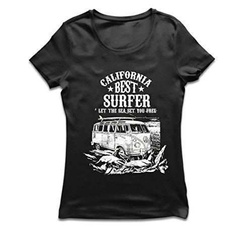 este Surfer Kaliforniens - Strand-Sommer-Ferien, surfender Stil, Packwagen, Reiseentwurf (X-Large Schwarz Mehrfarben) (Machen Halloween-magazin)