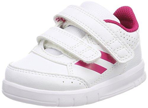 Adidas 31843 altasport cf, scarpe da ginnastica basse unisex – bambini, bianco (ftwr white/bold pink/ftwr white), 22 eu