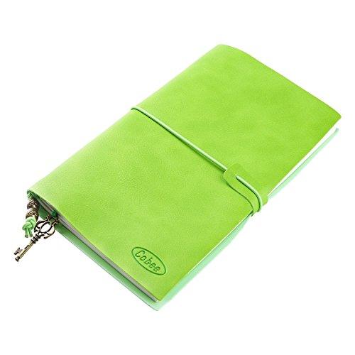 Cobee - Taccuino Quaderno in Pelle a fogli intercambiabili con Ciondolo Vintage Cinghia per viaggio (Verde)
