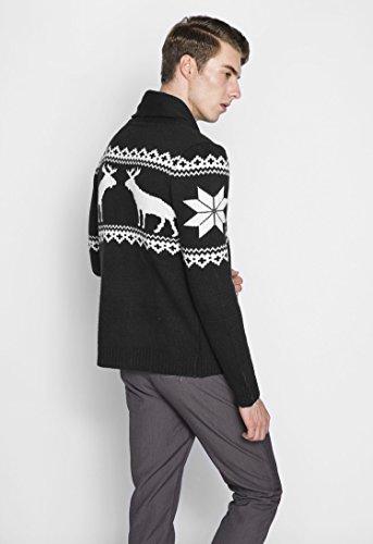 BOMOVO Herren Weihnachten Strickpullover mit Rentier Retro Sweater Schwarz