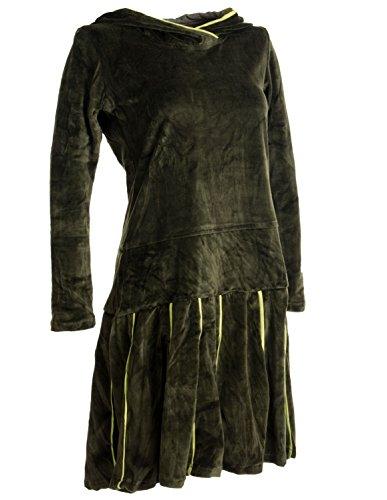 Vishes - Alternative Bekleidung – Samt Minikleid mit Kapuze Cape Kleid Olivegrün