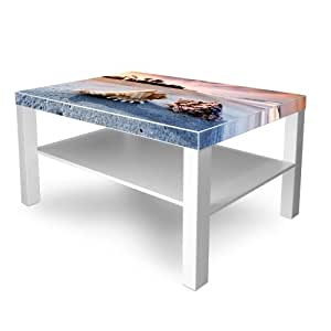 Table basse New Fancy Blanc avec motif: coquillages