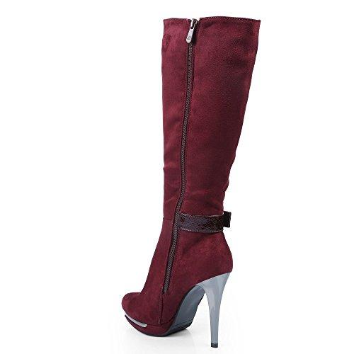 Ideal Shoes–Stivali effetto camoscio con cinturone verniciato effetto rettile donna Rosso