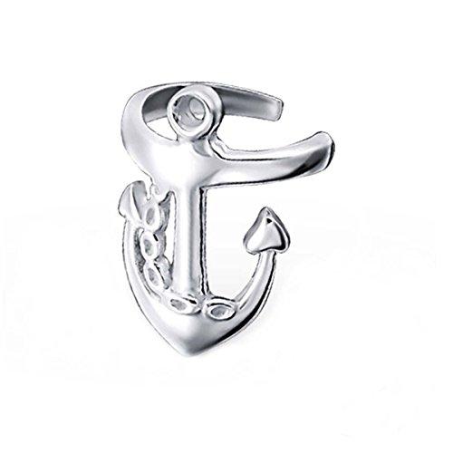 FIVE-D Ohrringe Ohrklemme Anker aus 925 Sterling Silber in Geschenkverpackung (Gras Anker)