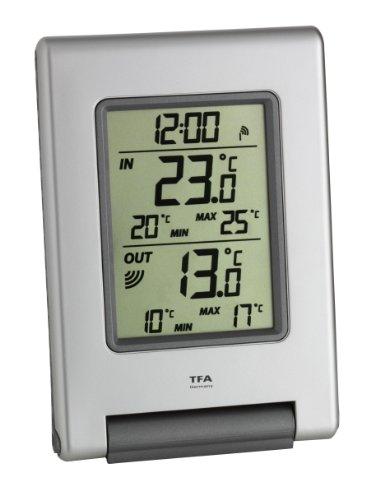 TFA Dostmann Easy Base Funk-Thermometer, Außentemperatur, Innentemperatur, Anzeige der Höchst- und Tiefstwerte, kabelose Übertragung Base Station Sender