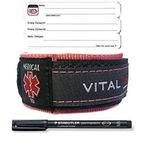 Medizinisches ID-Armband für Asthma, Diabetes, Alzheimers, Demenz, Autismus, Asperger-Epilepsie, Hämophilie, CF Multiple Sklerose, Muskeldystrophie, Parkinson-Krebs, Leukämie, Fibromyalgie, Pink