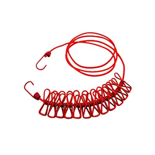 HJKGSVdv Outdoor Winddicht Wäscheleine Kleiderbügel Tragbare Reise Wäschetrockner Seil mit 12 Clips Red