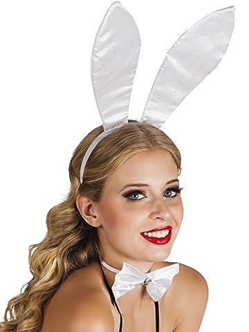 Zauberclown - Hasen Ohren Hut Haarreif Bunny, Weiß