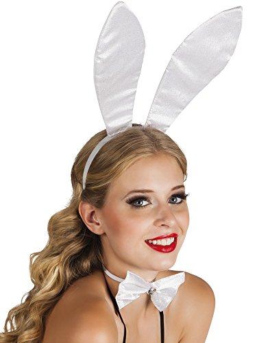Karnevalsbud - Hasen Ohren Hut Haarreif Bunny, Weiß