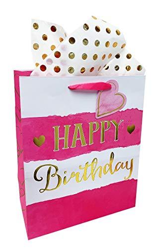 Große Damen Mädchen Geburtstagsgeschenk, Geschenk für Kinder, Pink/Gold Wickeltasche, modern - Große Personalisierte Wickeltasche