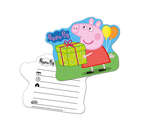 Lively Moments 6 Einladungskarten von Peppa Pig / Familie Wutz zum Kindergeburtstag / Geburtstagsdekoration