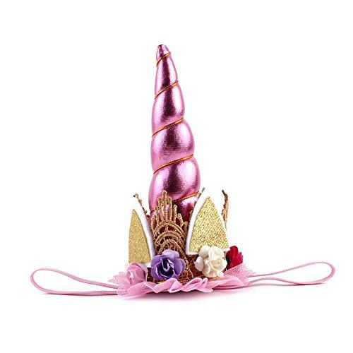 JianFeng Einhorn Hut Stirnband Glitter elastische Haar Stirnband für Geburtstag Party (Einhorn Hüte)