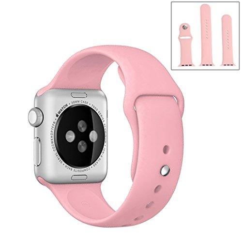 Relojes Bandas, Para Apple reloj de 38 mm de alto rendimiento deportivo Ordinaria Larga Duración de goma correa de reloj deportivo con cierre de pasador y cirugía estética ( Color : Rosa )
