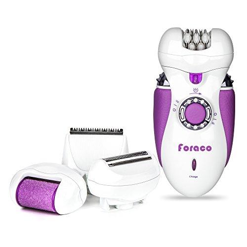 Epilierer, Foraco 4-in-1 Multifunktion Elektrischer Epilator mit 4 Extras, inkl. Rasieraufsatz, Trimmeraufsatz, Haareschneiden-aufsatz, Hornhautentferner, mit LED Beleuchtung, Wiederaufladbar, für Damen Tägliche Pflege, Weiß / Lila