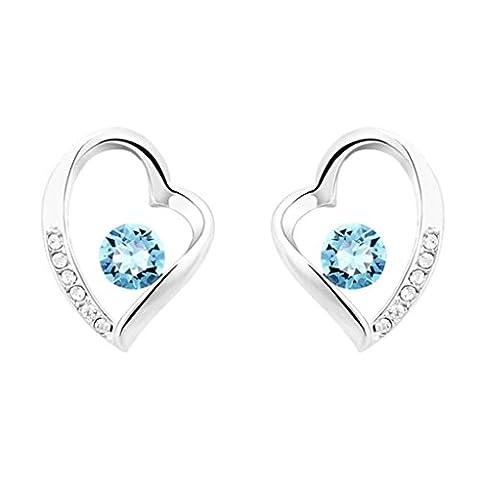 Aooaz Boucles d'oreilles pour Femmes, Creux Cœur CZ Cristal Bleu,12x9MM