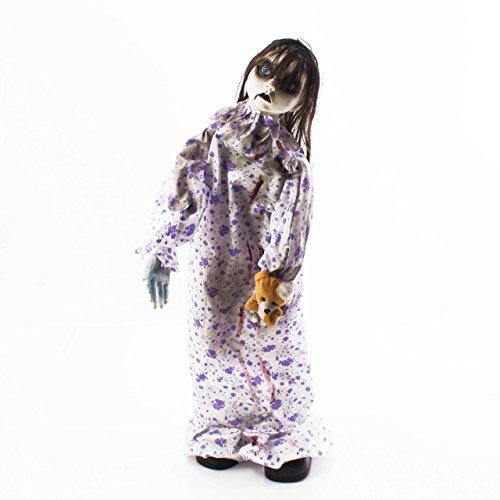 showking Muñeca terrorífica de Halloween Beverly con Oso de Peluche, función de Movimiento, Sonidos de Fantasma, 74 cm - Elemento Decorativo