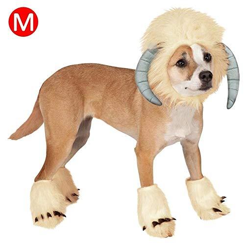 Jadeyuan Kostüm Haustier Kostüm Hund Cosplay Kleid Lustige Schafe Kopfbedeckungen Kostüm mit Fuß Abdeckungen Haustier Halloween Weihnachten Cosplay Outfit Kleidung for Hund Katze - Einfach Schaf Kostüm