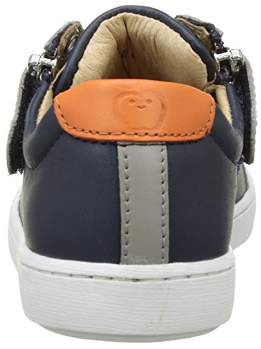 Shoo Pom Play Lo Bi Zip, Baskets Basses Garçon Bleu (Navy-Grey-Orange)