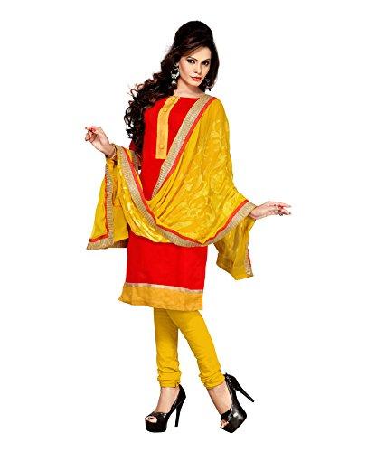 Saffron Saree Saffron Women's Silk Free Size Salwar Kameez (Red)