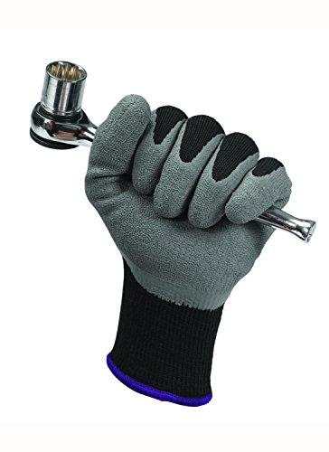 Gants Textile Enduit Latex JACKSON SAFETY* G40 - 97273 - 5 sachets de 12 paires de gants gris et noir de forme anatomique, Taille 10