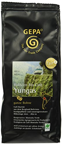 GEPA Bolivien Bio Cafe Yungas Bohne, 1er Pack (1 x 250 g Packung)