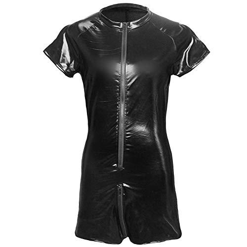 (Männer T-Shirt Shorts Overall Sexy Unterwäsche Europa und Den Vereinigten Staaten Außenhandel Leder Mesh Nähte Schwarz,XXL)