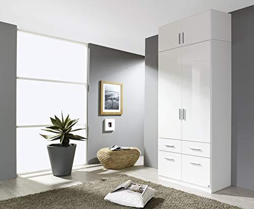 moebel-dich-auf.de Kleiderschrank Drehtürenschrank Frederik Celle 2-türig Hochglanz weiß mit Aufsatz 90 x 235 x 57 cm
