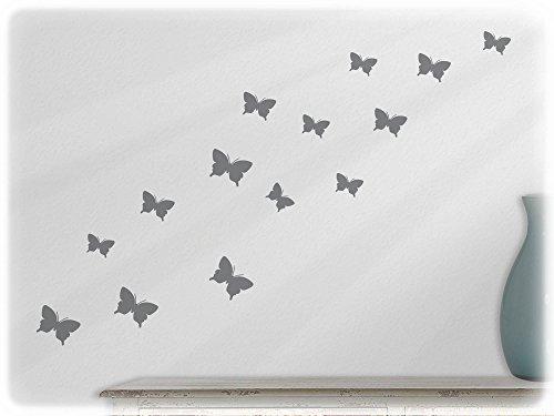 wandfabrik - Wandtattoo - 15 tolle Schmetterlinge (S2XS) in silbergrau