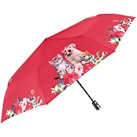 Folding Compact Umbrella for Women - Cats and Dogs on Flowers and Plain Colour Background - Windproof Automatic Brolly in Fiberglass - PFC Free - Diameter 96 cm - Perletti Time