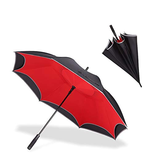 Regenschirm 135cm Doppelschichtautomatik mit langem Griff DREI große Wind- und regendichte Doppelnutzung (Color : Red)