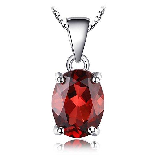 JewelryPalac Oval 2.5ct Natürlicher roter Granat Birthstone Solitaire Anhänger 925 Sterling Silber - Granat Stein