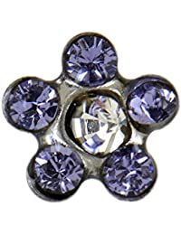 Studex Sensitive Regular Tanzanite and Clear Crystal Daisy Stainless Steel Stud Earrings 5mm Setting R6jAj