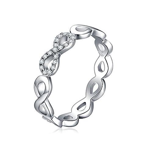 JewelryPalace Magnifique Bague de Fiançailles Femme Infini Aillance Mariage Anniversaire en Argent Sterling 925 en Zircon Cubique de Synthèse Taille