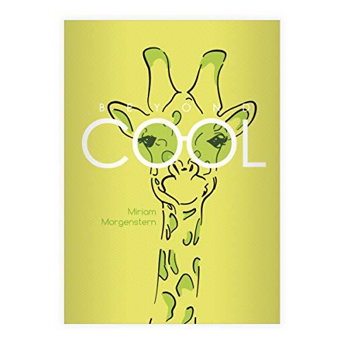 4 personalisierte Beyond Cool DIN A4 Grundschul Hefte mit Sonnenbrillen Giraffe, grün Kontrastlineatur 2, Grundschule 2. Klasse