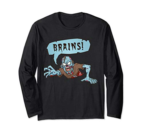 Und Kostüm Cool Scary - Halloween Zombie Want Brains Scary Kostüm Langarmshirt