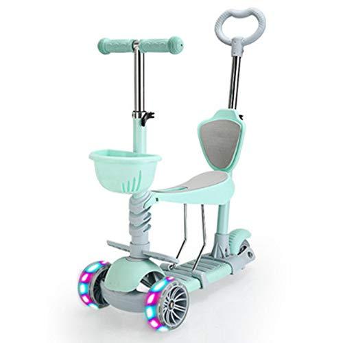 Pang Hu 5-in-1 | 3 Wheels Kick Scooter/Mit abnehmbarem Sitz/Für Kinder & Kleinkinder, 5 höhenverstellbare Kinder Scooter/Mit extra Breiten PU-Blinkrädern,Green