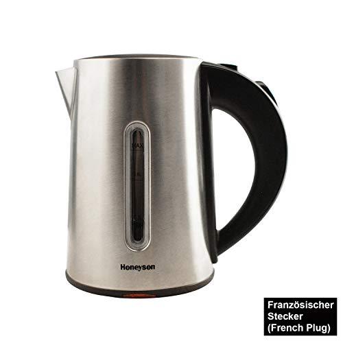 Honeyson Kleiner Wasserkocher Edelstahl Teekocher kabellos 0,8 Liter 1000 Watt 360°Drehbarer Kontaktsockel, Überhitzungsschutz