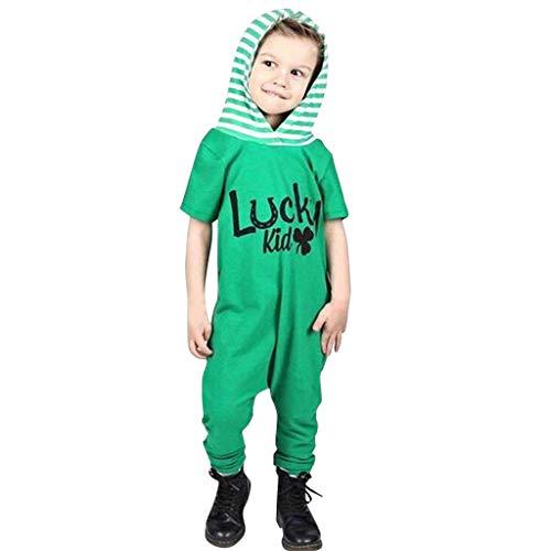 Julhold Säugling Baby Mode Lässige Kleidung Kurzarm St. Patricks Day Gestreifter Overall mit Kapuze Spielanzug 3-24 Monate -