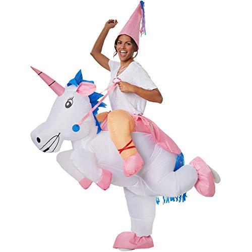 dressforfun 302350 - Aufblasbares Unisex Kostüm Einhorn, Buntes Einhornkostüm mit rosa Spitzenhut (Einhorn Kostüm Männer)
