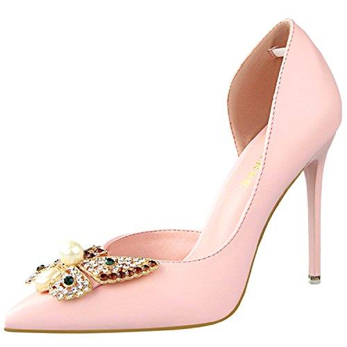 Oasap Women's Pointed Toe Rhinestone Butterfly Slip on Stiletto Pumps pink