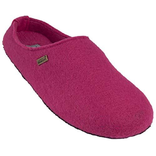 BIOSOFT Lady Cosy Damen Woll-Filz Slipper Pantoffeln Frauen Freizeit Hausschuh | Schlüpfschuh | Pantolette | Schlappen | Hüttenschuh - Gr. 37-41 - 40 pink