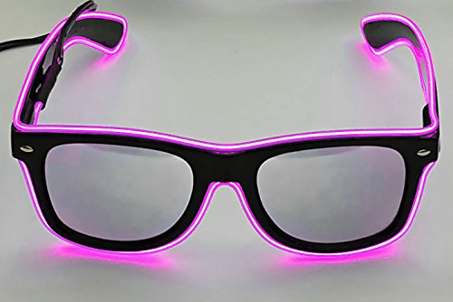 LED-Brille PINK / transparent / soundsensitive EL-Brille / Blinkbrille mit Leuchtgestell / Leuchtbrille / Ucult® (Pink)