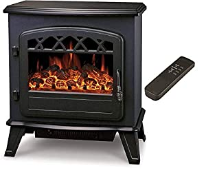"Galleon Fires""Castor"" Electric Log Effect Stove Fireplace with Remote -Electronically controlled LED System- LED Flame Effect"