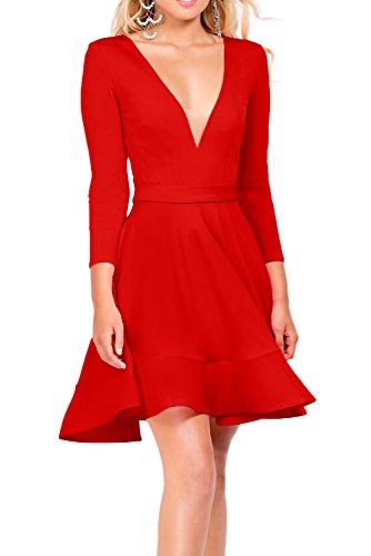 Missdressy Sexy A-Linie Mini V-Ausschnitt Satin Tuell Partykleider  Abschlusskleider Celebritykleider Rot