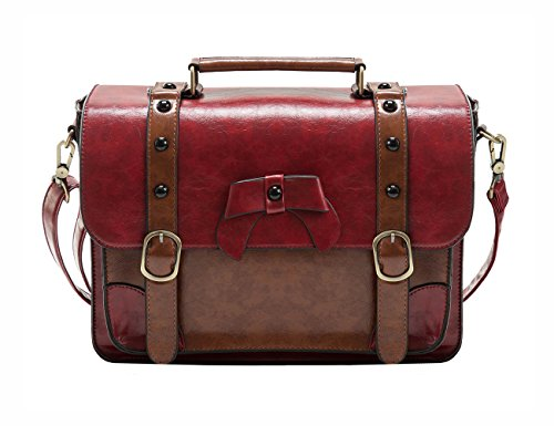 ECOSUSI Umhängetasche Damen Vintage Schultertasche Handtasche 32,5 x 25,4 x 8,9 cm Rot