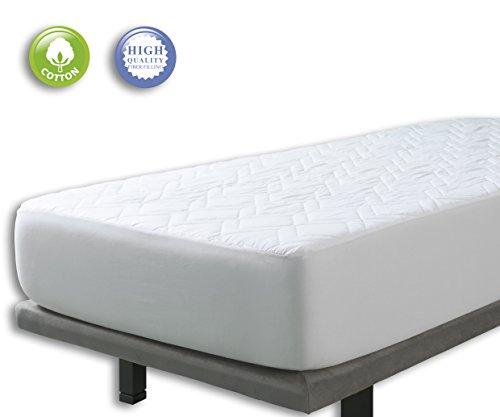 VELFONT – Gepolsterte Matratzenauflage aus 100% Baumwolle zum Wenden – verfügbar in verschiedenen Größen - 180x190/200cm