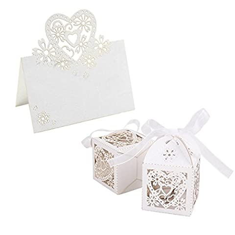 12 Love Heart Flower Laser Cut Place Name Card With 12 Love Heart Favour Box Wedding Centerpieces Party