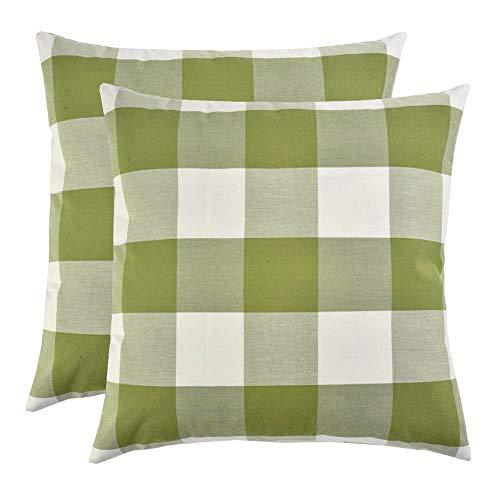 Artcest 2er Set dekorative Baumwollmischung gefärbt Bettüberwurf Kissen Fall Sofa Durable Plaid Muster Bequeme Couch Kissenbezug Country Rustic 16 X 16 Inches moosgrün -