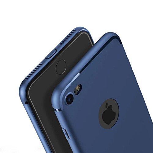 [PfX] Hülle kompatibel mit iPhone 8 in blau Matt - TPU Silikonhülle [Unterstützt Kabelloses Laden] mit integriertem Staubschutz (Blue-Line)