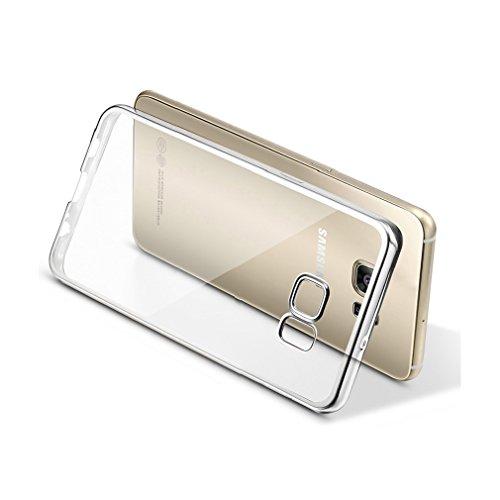Aursen® Handy Hülle Kratzfeste Plating TPU Case Schutzhülle Atmungsaktive Folie auf Silikon Crystal Case Durchsichtig Rosa für iPhone 6 plus/ iPhone 6S plus mit 9H Hartglas Glasfolie Silber